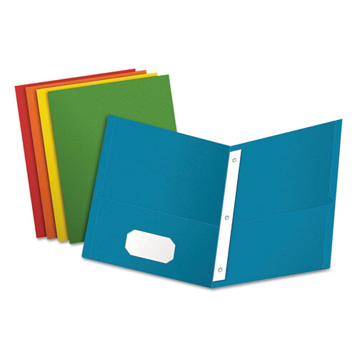 """Oxford™ Twin-Pocket Folders with 3 Fasteners, Letter, 1/2"""" Capacity, Assorted, 25/Box"""