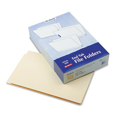 Pendaflex® Manila End Tab Expansion Folders with Two Fasteners, 11-pt., 2-Ply Straight Tabs, Legal Size, 50/Box