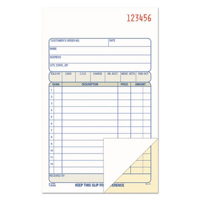 Adams /  Sales Book, 2-Part, 6 11/16 x 4 3/16, Carbonless, 50 sets/Book