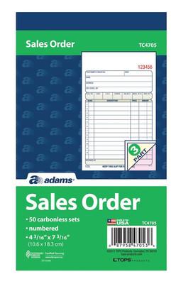 "Adams / Sales Order Book, 3-Part, Carbonless, 4-3/16"" x 7-3/16"", 50 ST/BK"