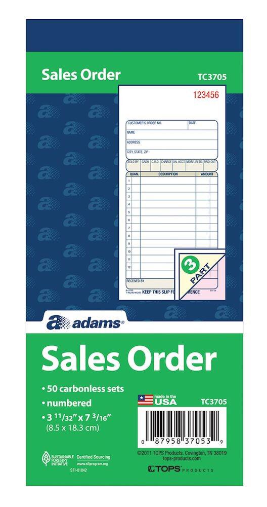 """Adams / Sales Book, 3-Part, Carbonless, 3-11/32"""" x 7-3/16"""", 50 ST/BK"""