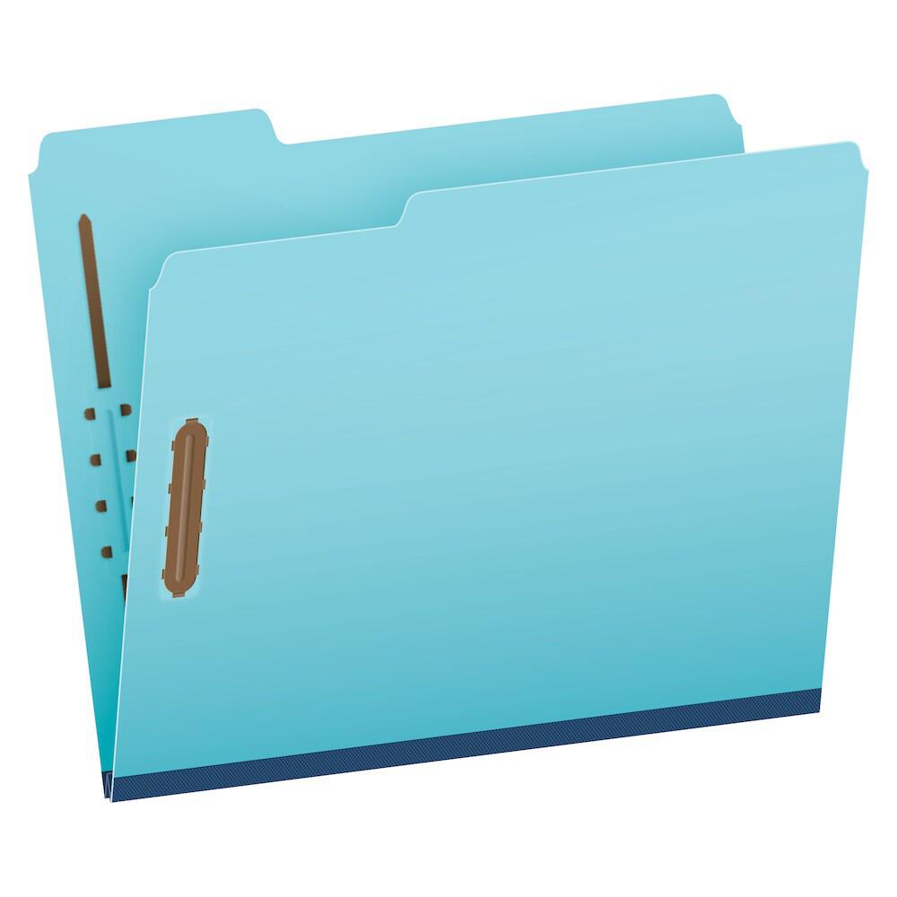 "Pendaflex® Pressboard Fastener Folders, Letter Size, Light Blue, 1"" Expansion, 1/3 Cut, 25/BX"
