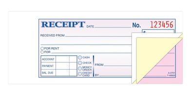Adams Money/Rent Receipt Book, Carbonless, 3-Part, 50 ST/BK
