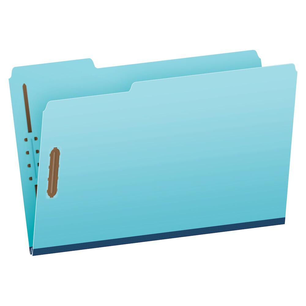 "Pendaflex® Pressboard Fastener Folders, Legal Size, Light Blue, 1"" Expansion, 1/3 Cut, 25/BX"