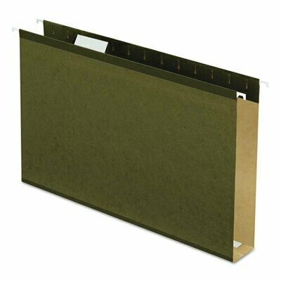 Pendaflex / Hanging File Folders, Extra Capacity, Reinforced with Box Bottom, Legal Size, 1/5-Cut Tab, Standard Green, Pk-25