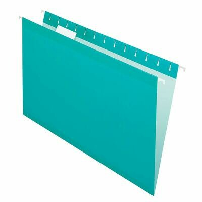 Pendaflex / Hanging File Folders, Reinforced, Legal Size, Straight Tab, Aqua, Pk-25