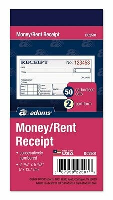 Adams / Money and Rent Receipt, 2-Parts, Carbonless, White/Canary, 50 Sets per Book
