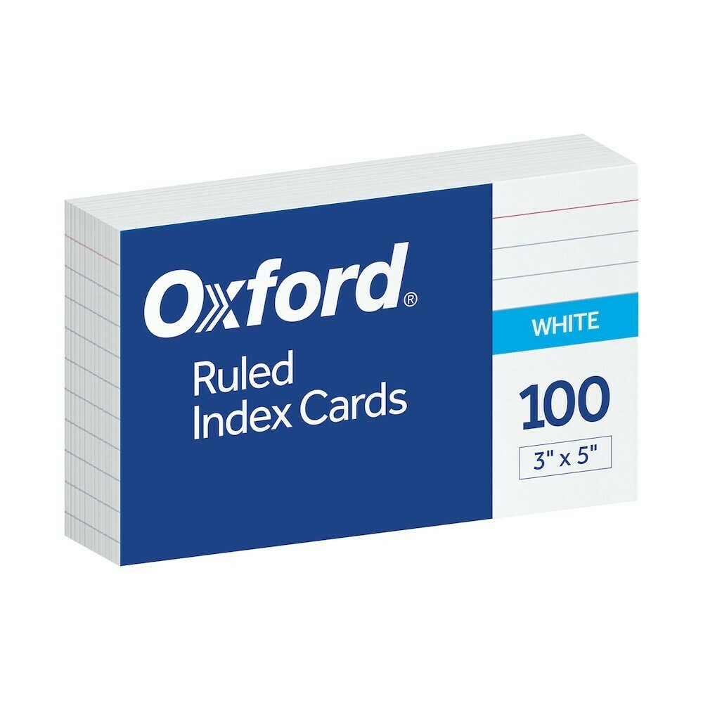 "Oxford / Ruled Index Cards, 3"" X 5"", White, 100 Per Pack"
