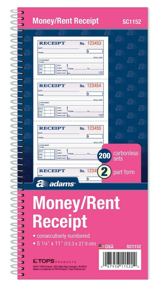 Adams / Money/Rent Receipt Book, Spiral, 2-Part, 11x5-1/4, 200 ST/BK