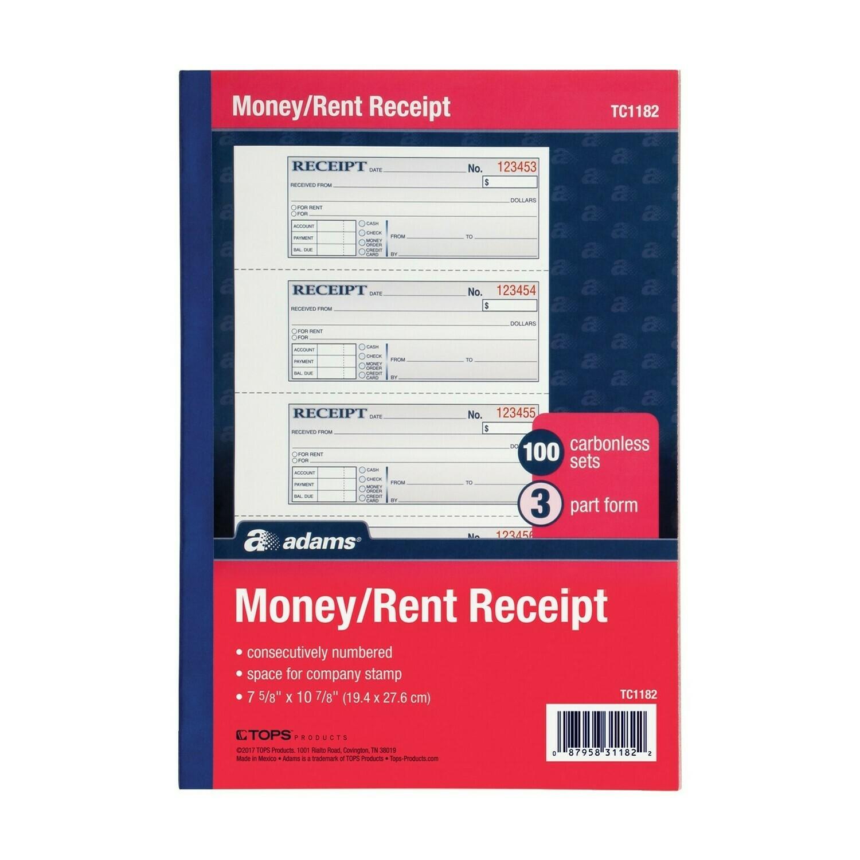 Adams / Money / Rent Receipt Book, 3-Part, Carbonless,100 Sets Per Book, 4 Receipts Per Page