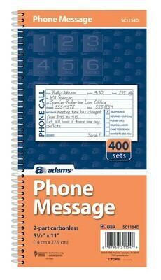"Adams / Phone Message Book, 2-Part Carbonless, 5-1/2"" X 11"", 400 Sets Per Book"