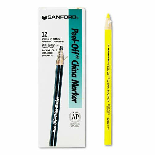 Sharpie / Peel-Off China Markers, Yellow, Dozen