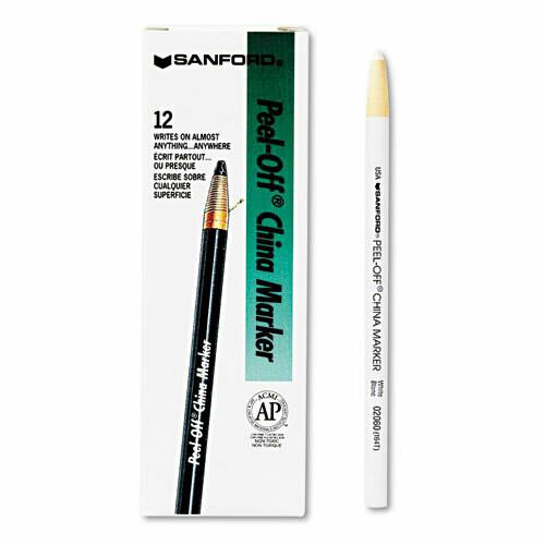 Shapie / Peel-Off China Markers, White, Dozen