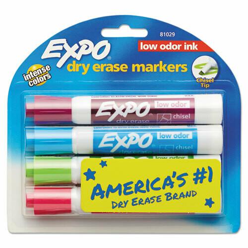 Expo / Low-Odor Dry-Erase Marker, Broad Chisel Tip, Assorted Colors, 4/Set