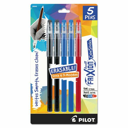 Pilot / FriXion ColorSticks Erasable Stick Gel Pen, 0.7mm, Assorted Ink/Barrel, 5/Pack