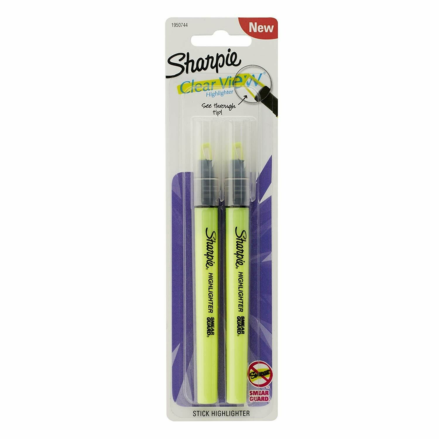 Sharpie / Clear View Highlighter Stick, Yellow, 2/Pack