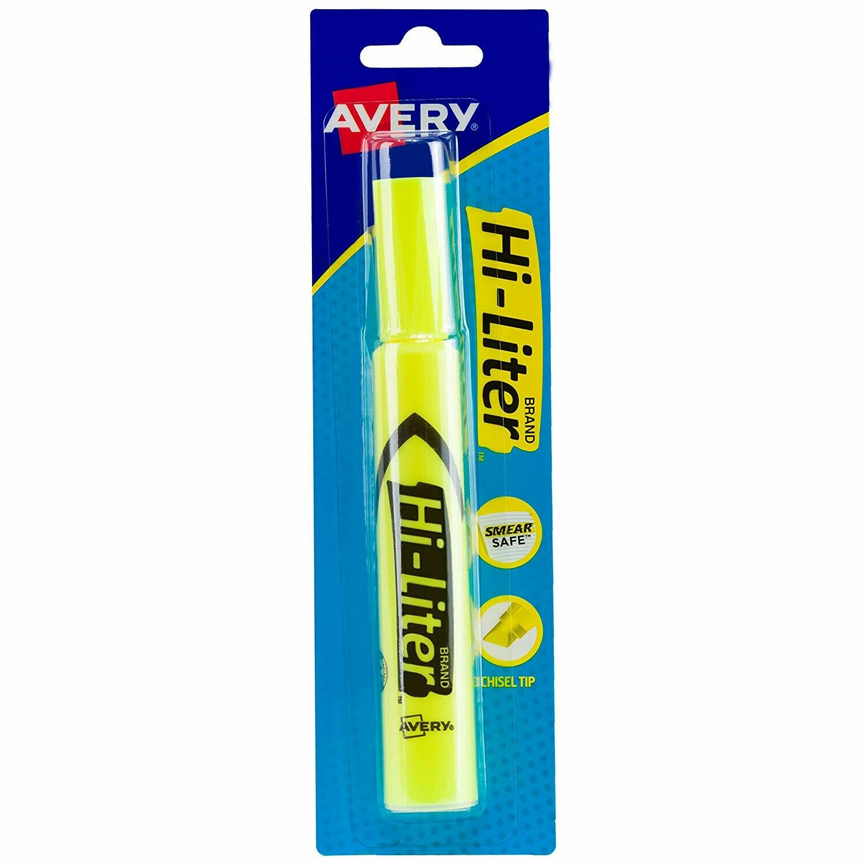 Avery / Hi-Liter Desk-Style, Smear Safe Ink, Chisel Tip, 1 Fluorescent Yellow Highlighter