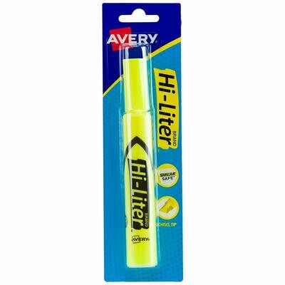 Avery / Hi-Liter Desk-Style, Smear Safe Ink, Chisel Tip, 1 Fluorescent Yellow Highlighter