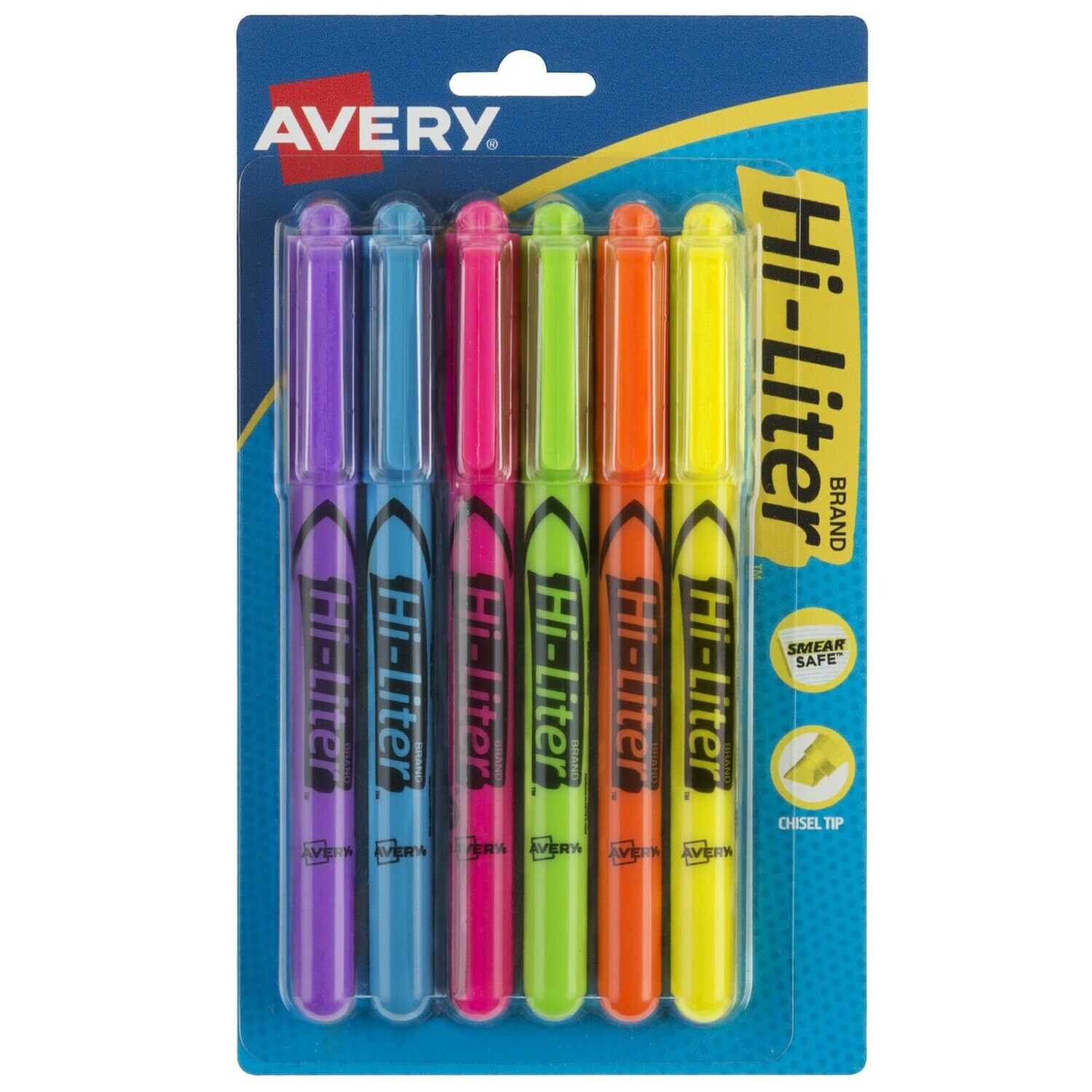 Avery / Hi-Liter® Assorted Color Chisel Tip Pen Style Highlighter - 6/Pack