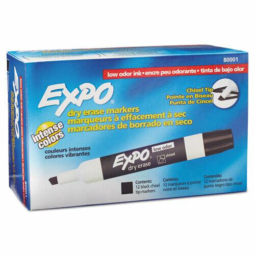 Expo / Low-Odor Dry-Erase Marker, Broad Chisel Tip, Black, Pk-12