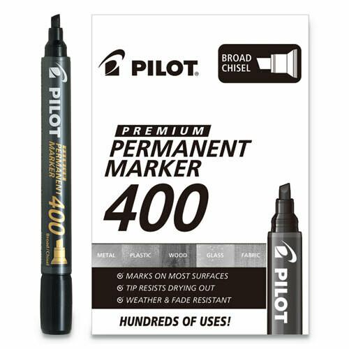 Pilot / Premium 400 Permanent Marker, Broad Chisel Tip, Black, Dozen