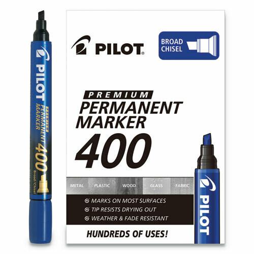 Pilot / Premium 400 Permanent Marker, Broad Chisel Tip, Blue, Dozen