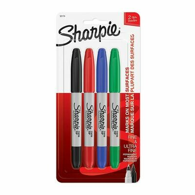 Sharpie / Twin Tip Permanent Markers, Fine and Ultra Fine, Assorted Colors, 4 Count