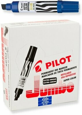Pilot /  Super Color Jumbo Permanent Markers, Extra Wide Chisel Point, Blue Ink