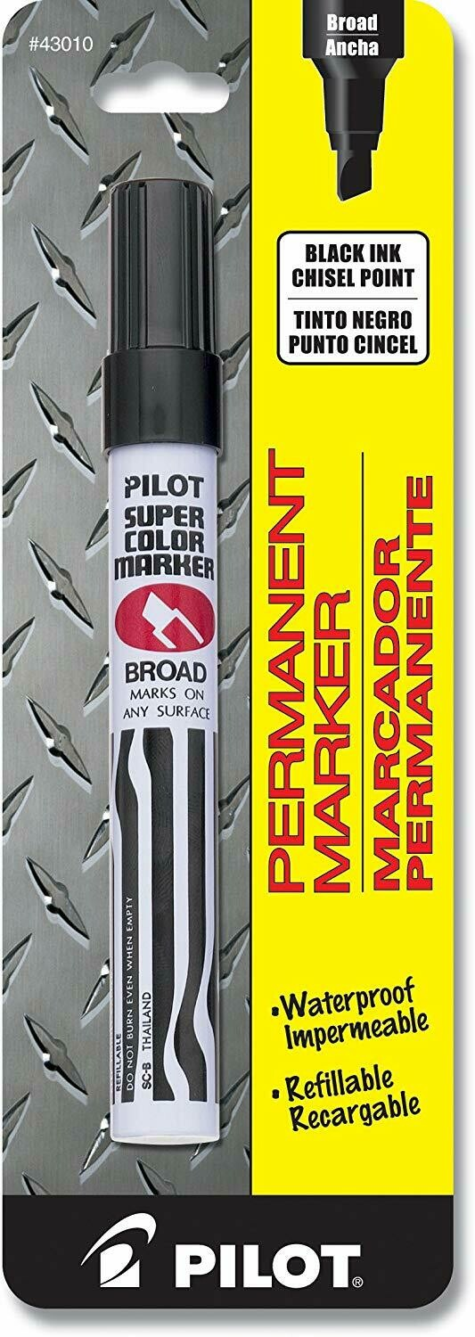 Pilot / Super Color Permanent Marker, Broad Chisel Point, Black Ink