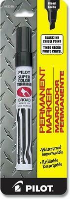 Pilot / Super Color Permanent Marker, Broad Chisel Point, Black Ink