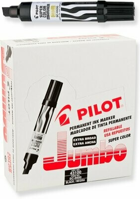 Pilot / Super Color Jumbo Permanent Markers, Extra Wide Chisel Point, Black Ink, Dozen Box