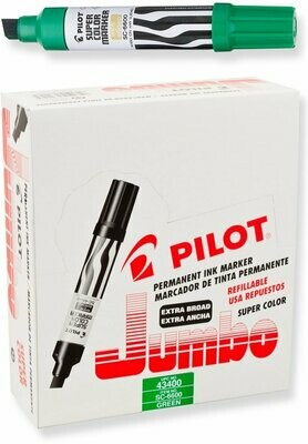 Pilot / Super Color Jumbo Permanent Markers, Extra Wide Chisel Point, Green Ink