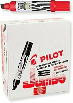 Pilot /  Super Color Jumbo Permanent Markers, Extra Wide Chisel Point, Red Ink, Dozen Box