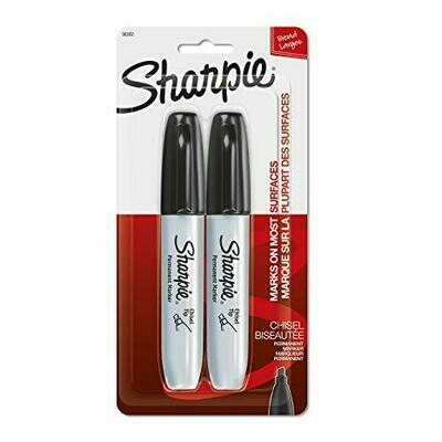 Sharpie / Chisel Tip Permanent Markers, Black, 2 Markers