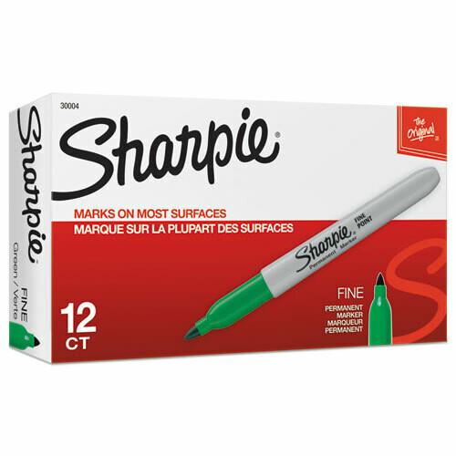 Sharpie / Fine Tip Permanent Marker, Green, Dozen