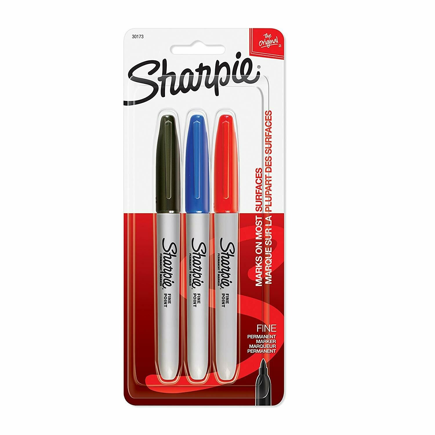 Sharpie / Permanent Markers, Fine Point, Assorted Colors, 3 Markers