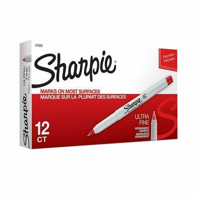 Sharpie / Ultra Fine Tip Permanent Marker, Extra-Fine Needle Tip, Red, Dozen