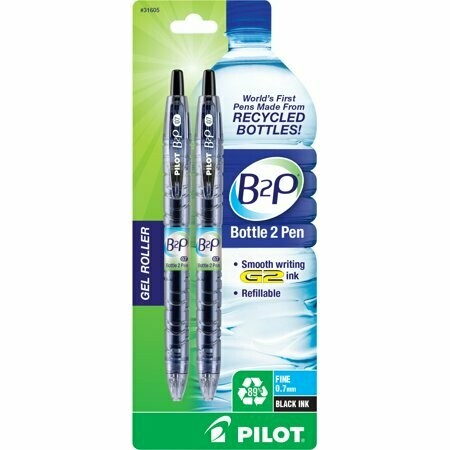 PILOT B2P / Bottle to Pen Refillable & Retractable Rolling Ball Gel Pen made From Recycled Bottles, Fine Point, Black G2 Ink, 2-Pack