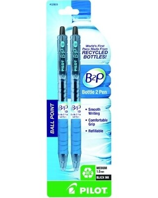 PILOT B2P / Bottle to Pen Refillable & Retractable Ball Point Pen Made From Recycled Bottles, Fine Point, Black Ink, 2-Pack