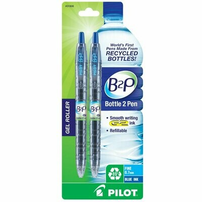 PILOT B2P / Bottle to Pen Refillable & Retractable Rolling Ball Gel Pen made From Recycled Bottles, Fine Point, Blue G2 Ink, 2-Pack