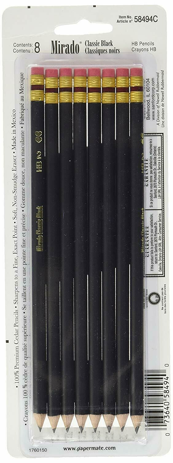 Paper Mate / Mirado Black Warrior Pencil, #2, Pk-8