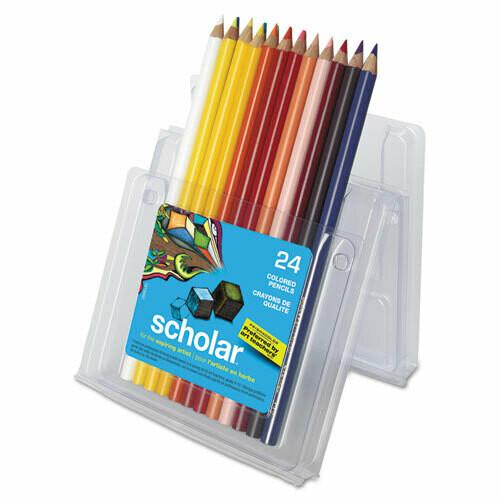 Prismacolor / Scholar Colored Pencil Set, 3 mm, 2B (#2), Assorted Lead/Barrel Colors, Pk-24 Colors