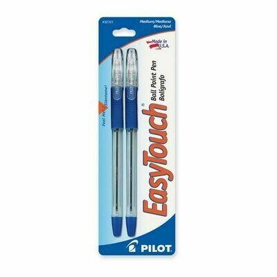 Pilot / EasyTouch Ball Point Pen, Medium, Blue, Pk-2