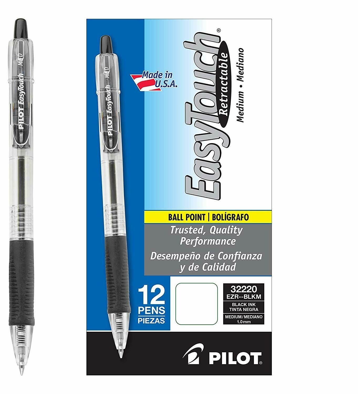 Pilot /  EasyTouch Retractable Ballpoint Pen, Medium, Black, Dozen
