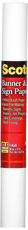 Scotch / Banner Paper, 30-Inch x 15-Feet, White