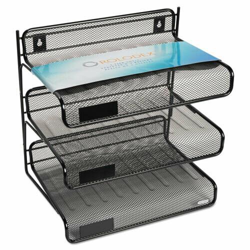 Rolodex / Mesh Three-Tier Letter Size Desk Shelf, 10 x 7 x 9 3/8, Black