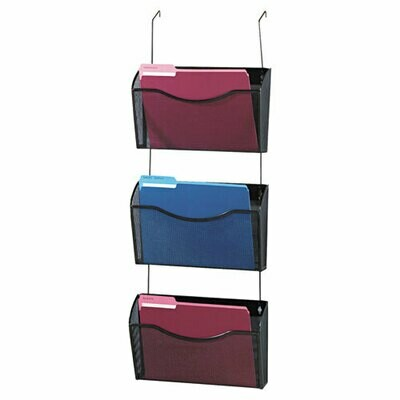 Rolodex / Three-Pack Wire Mesh Wall Files, Letter, Three Pockets, Black