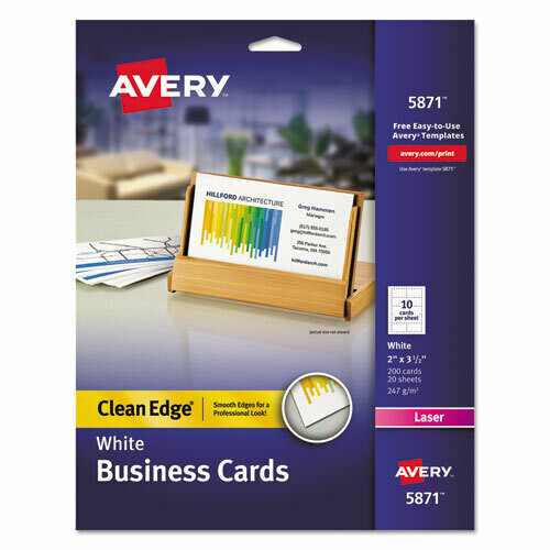 Avery / Clean Edge Business Cards, Laser, 2 x 3 1/2, White, 200/Pack