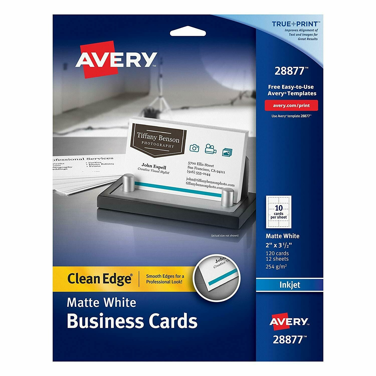 Avery / Two-Side Printable Clean Edge Business Cards for Inkjet Printers, White, Matte, Pack of 120