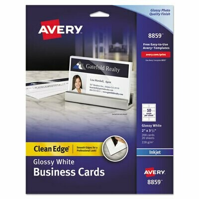 Avery / Clean Edge Business Cards, Inkjet, 2 x 3 1/2, Glossy White, 200/Pack